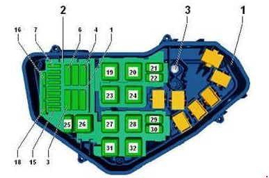 Volkswagen Toured - fuse box diagram -Engine compartment relay & fuse box (3.0l, V6 diesel engine (CVVA, CVWA))