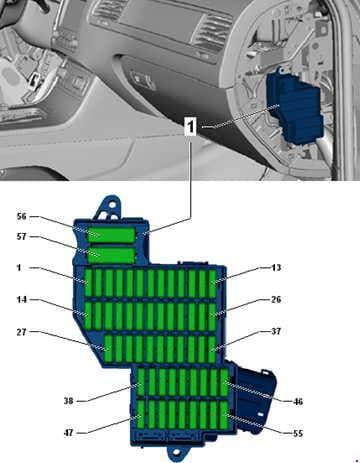 Volkswagen Toured - fuse box diagram - fuse assignment in fuse box, right dash panel