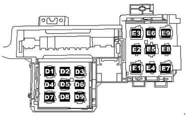 Volkswagen Toured - fuse box diagram - relay locations for E-box on left under dash panel near centre console